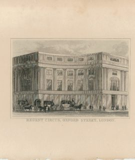 Antique Engraving Print, Regent Circus, 1845