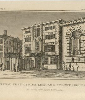 Antique Engraving Print, General Post Office, Lombard Street, 1818 ca.