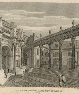 Antique Engraving Print, Lothbury Court: Bank New Buildings, 1809