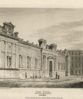 Antique Engraving Print, The Bank, London, 1809