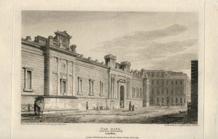 Antique Engraving Print, The Bank, London, 1809