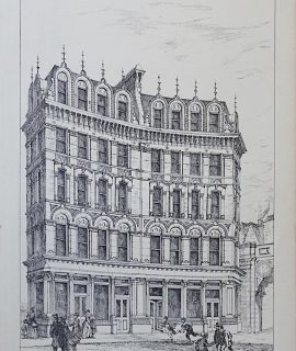 Antique Print, Architecture Ludgate Circus, 1872
