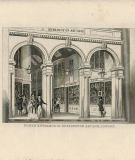 Antique Engraving Print, North Entrance of Burlington Arcade, London, 18200