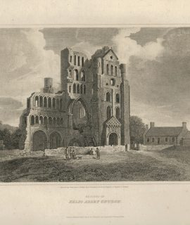 Antique Engraving Print, Remains of Kelso Abbey, 1814