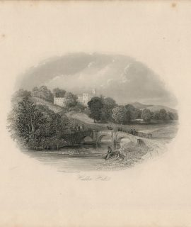 Antique Engraving Print, Haddon Hall, 1840