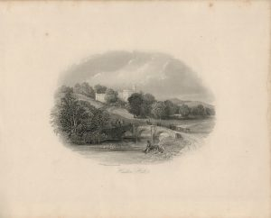 Antique Engraving Print, Haddon Hall, 1840