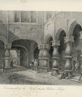 Antique Engraving Print, Couryard of the Archbishop's Palace, Liège, 1877