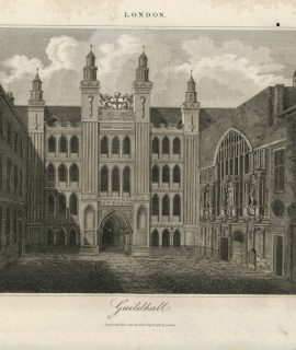 Antique Engraving Print, Guildhall, 1814