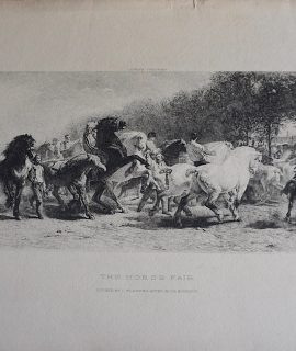 Antique Engraving Print, The Horse Fair, Rosa Bonheur, 1859