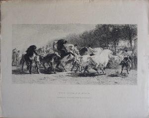 Antique Engraving Print, The Horse Fair, Rosa Bonheur, 1859