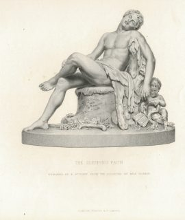 Antique Engraving Print, The Sleeping Faun, 1878