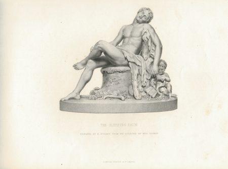 Antique Engraving Print, The Sleeping Faun, 1878