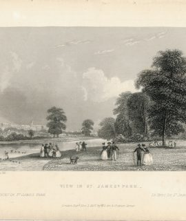 Antique Engraving Print, View in St. James Park, 1837