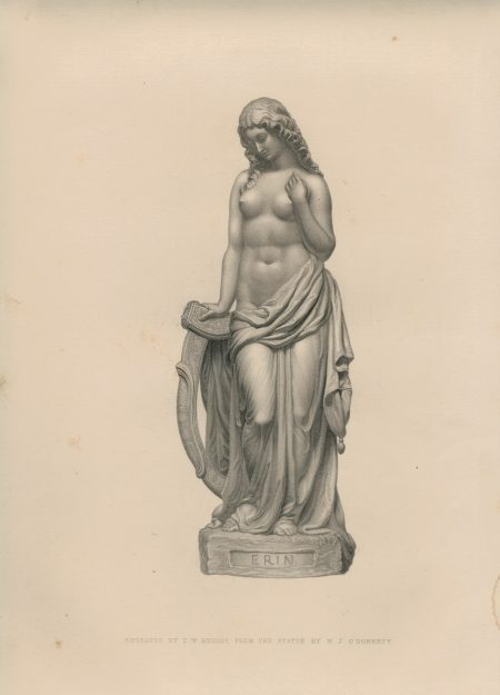 Antique Engraving Print, Statue by W,J. O' Doherty, 1861