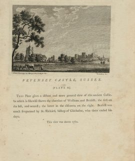 Antique Engraving Print, Pevenset Castle, Sussex, 1772