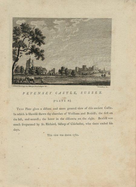 Antique Engraving Print, Pevenset Castle, Sussex, 1772