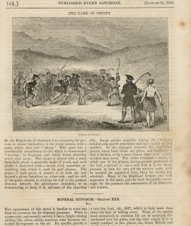 Antique Print, The Game of Shinty, 1835