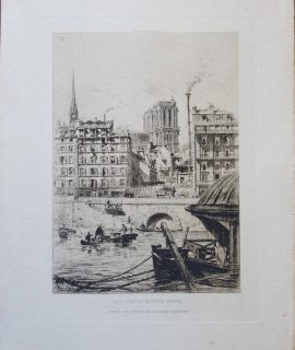 Antique Engraving Print, Old Paris Notre-dame, 1890 ca.