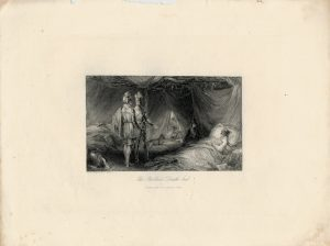 Rare Antique Engraving Print, The Robber's Death bed, 1830 ca.