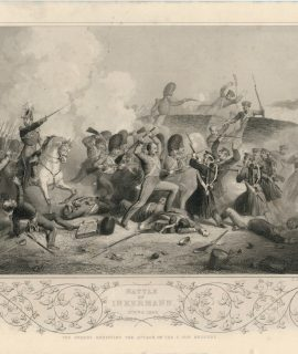 Antique Engraving Print, Battle of Inkermann, 1854