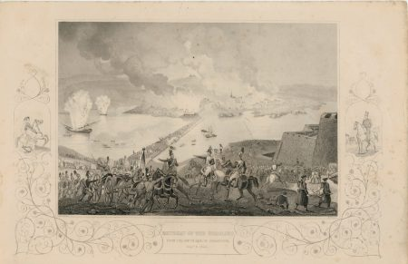 Antique Engraving Print, Retreat of the Russians, 1855
