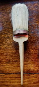 Rare antique wood and copper badger hair brush