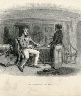 Antique Engraving Print, Sir J. O'Connor and Tom, 1870 ca.