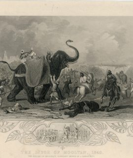 Antique Engraving Print, The siege of Mooltan, 1849