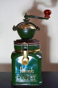 Harrods Classic Dark Green & Gold Coffee Mill Grinder & Pot