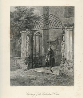 Antique Engraving Print, Gateway of the Cathedral, Loire, 1876