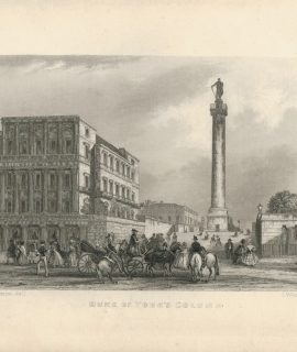 Antique Engraving Print, Duke of York's Column, 1840 ca.