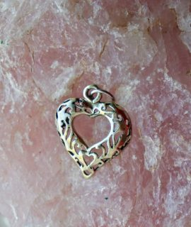 Vintage Love Heart Silver 800 pendant