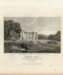 Antique Engraving Print, Hyde Hall, Essex, 1819