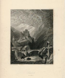 Antique Engraving Print, Landech in the Tyrol, 1830