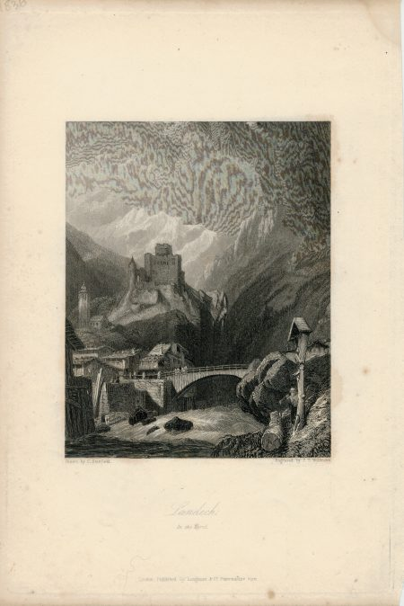 Antique Engraving Print, Landech in the Tyrol, 1830