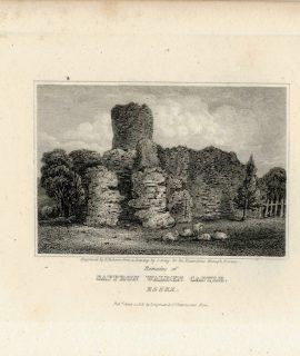 Antique Engraving Print, Saffron Walden Castle, 1818