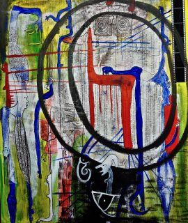 The Divism, mixed media on canvas by Mary Blindflowers©