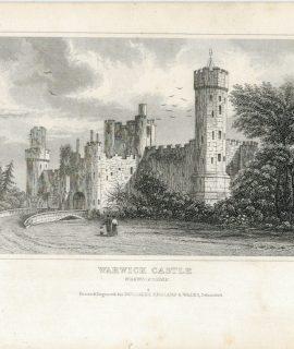 Antique Engraving Print, Warwick Castle, 1830