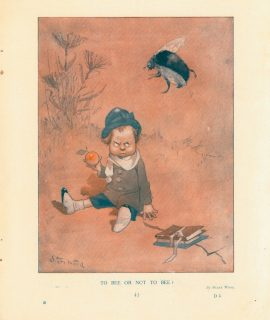 Rare Vintage Print, To Bee or not to Bee? 1908