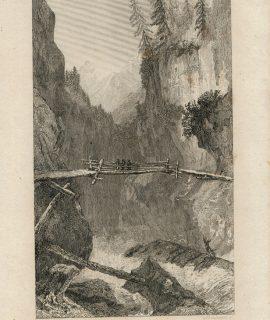 Antique Engraving Print, Pont sur le Rhin, 1830
