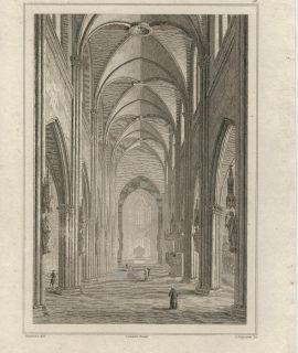 Antique Engraving Print, Cathedrale de Fribourg, 1830