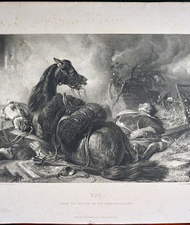 Antique Engraving Print, War, 1870 ca