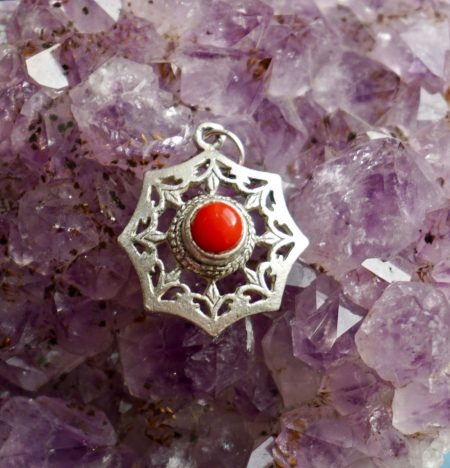 Vintage 925 Silver Pendant with natural Agate