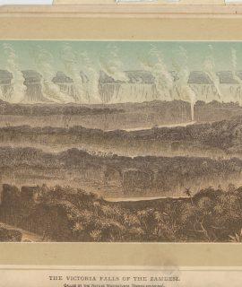 Antique Print, The Victoria Falls of the Zambesi, 1880 ca.