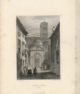 Antique Engraving Print, Dante's Tomb, Ravenna, 1830