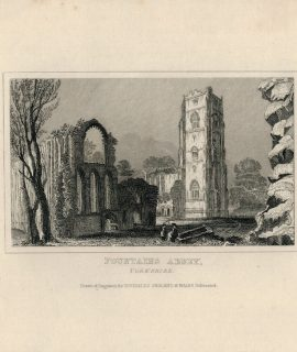 Antique Engraving Print, Fountains Abbey, Dugdales, 1830