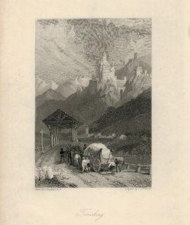 Antique Engraving Print, Tronsberg, 1832