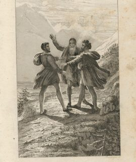 Antique Engraving Print, Grutli, Juramento de los tres, 1832