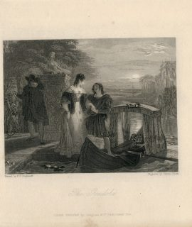 Antique Engraving Print, The Gondola, 1836