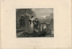 Antique Engraving Print, The Gondola, 1836